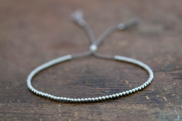 Delicate 14k solid White Gold beaded friendship bracelet - Vivien Frank Designs