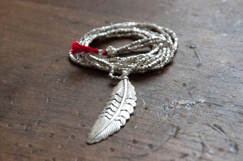 Faceted nugget feather necklace - Vivien Frank Designs