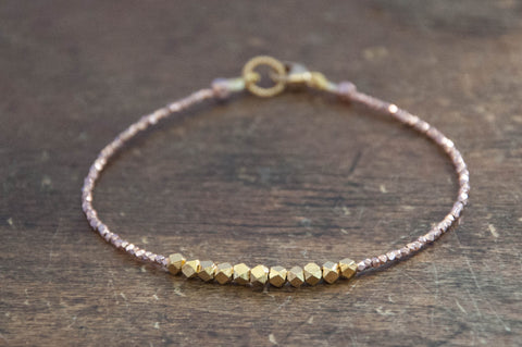 Nugget bracelet - gold on rose gold vermeil