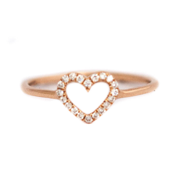 Heart ring with Diamonds and 18k solid gold - Vivien Frank Designs