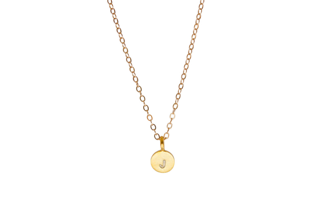 Tiny Gold initial necklace - Vivien Frank Designs