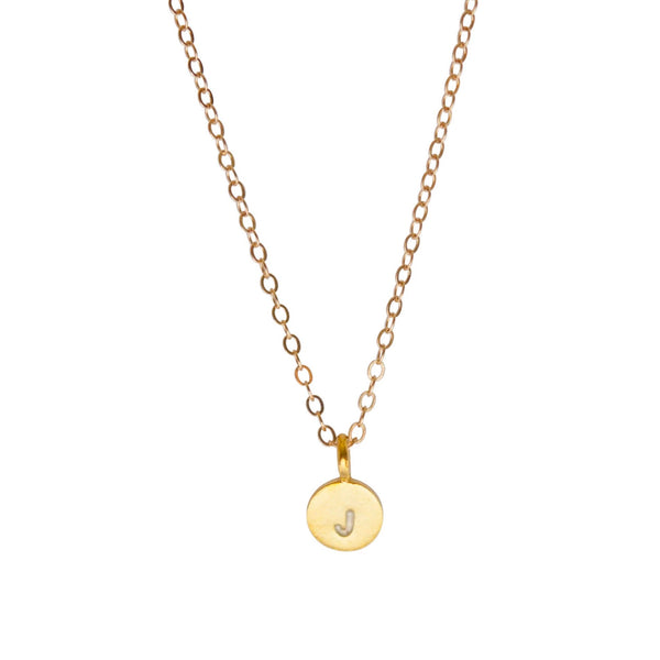 Gold Initial necklace 14k gold