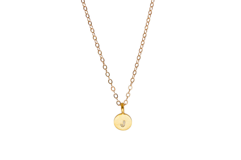 Gold initial charm necklace 14k gold - Vivien Frank Designs