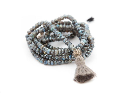 Long labradorite necklace with diamond and tassel
