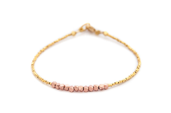 Nugget bracelet -rose gold on gold vermeil - Vivien Frank Designs