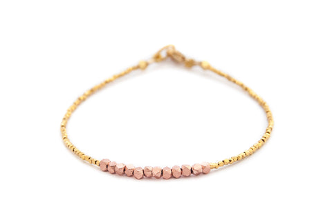 Nugget bracelet -rose gold on gold vermeil