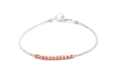 Nugget bracelet-rose gold on pure silver