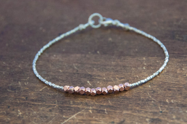 Nugget bracelet-rose gold on pure silver - Vivien Frank Designs