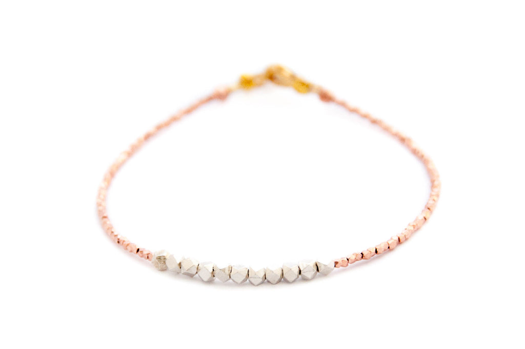 Nugget bracelet - pure silver on rose gold vermeil - Vivien Frank Designs