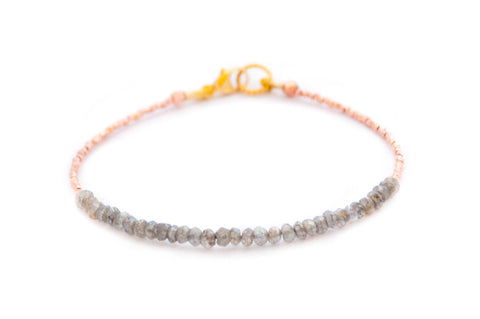 Labradorite Tennis bracelet with rose gold by Vivien Frank