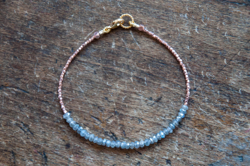 Labradorite Tennis bracelet with rose gold by Vivien Frank - Vivien Frank Designs