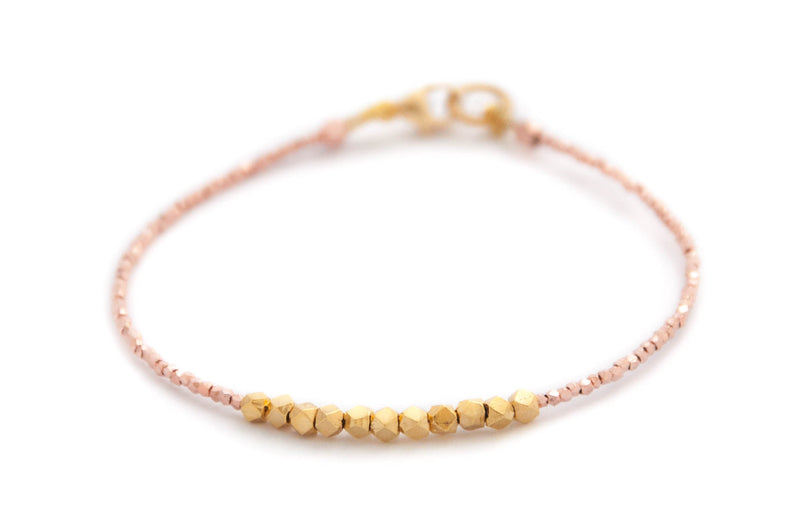 Nugget bracelet - gold on rose gold vermeil - Vivien Frank Designs