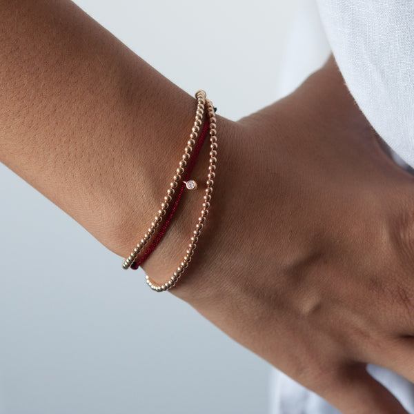 14k gold bead bracelet -stretch elastic