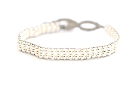 Double layer Silver bead bracelet