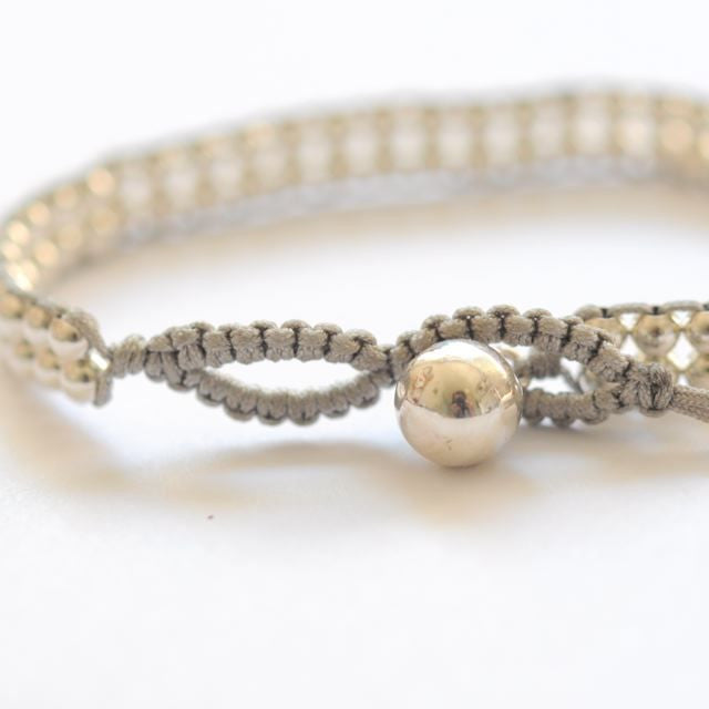 Double layer Silver bead bracelet - Vivien Frank Designs