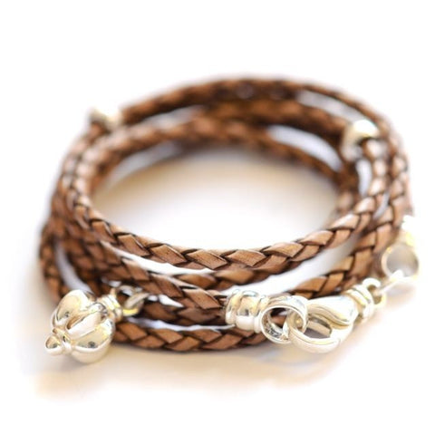 Leather wrap bracelet Mocca Brown with Blossom by Vivien Frank