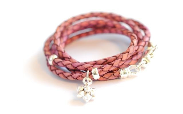 Leather wrap bracelet pink Flower by Vivien Frank - Vivien Frank Designs