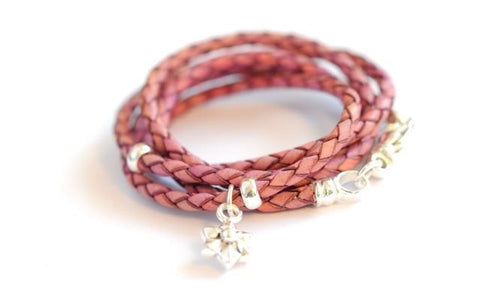 Leather wrap bracelet pink Flower by Vivien Frank