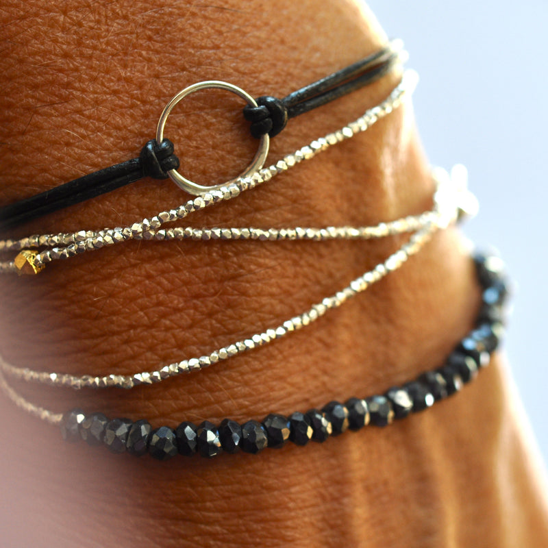 Black spinel Tennis bracelet with gold by Vivien Frank - Vivien Frank Designs