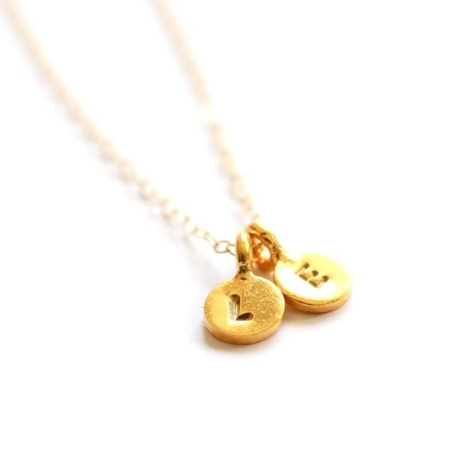 Tiny initial necklace - Two charms