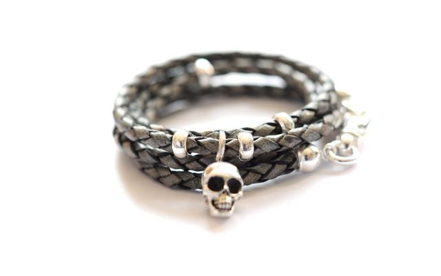 Leather Wrap bracelet Gray SKULL by Vivien Frank