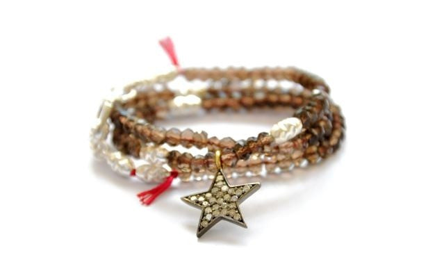 Pave Diamond Star gemstone bracelet