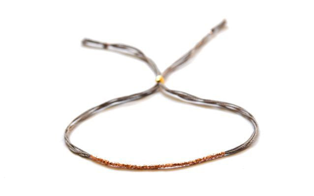 Rose gold and Gray silk friendship bracelet - Vivien Frank Designs
