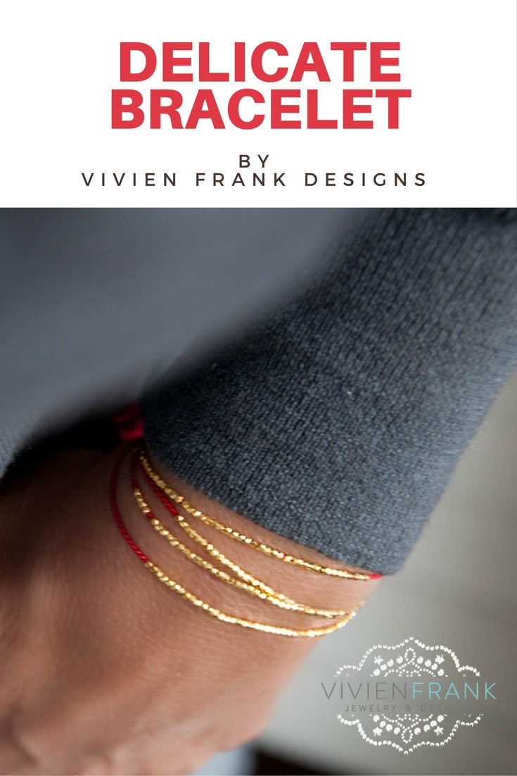 Delicate Gold on Red Silk friendship bracelet - Vivien Frank Designs