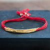 Delicate Gold on Red Silk friendship bracelet