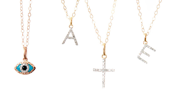 14k solid Gold diamond Cross pendant - Vivien Frank Designs