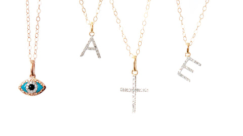 14k solid Gold diamond Cross pendant