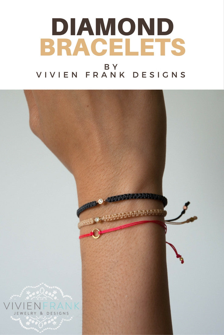 Diamond Friendship Bracelet in 14k solid gold - Vivien Frank Designs