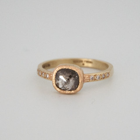 Natural Rose Cut Diamond Ring - Black