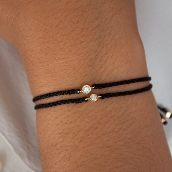 14k Gold Diamond Friendship Bracelets - Gold silk bracelet