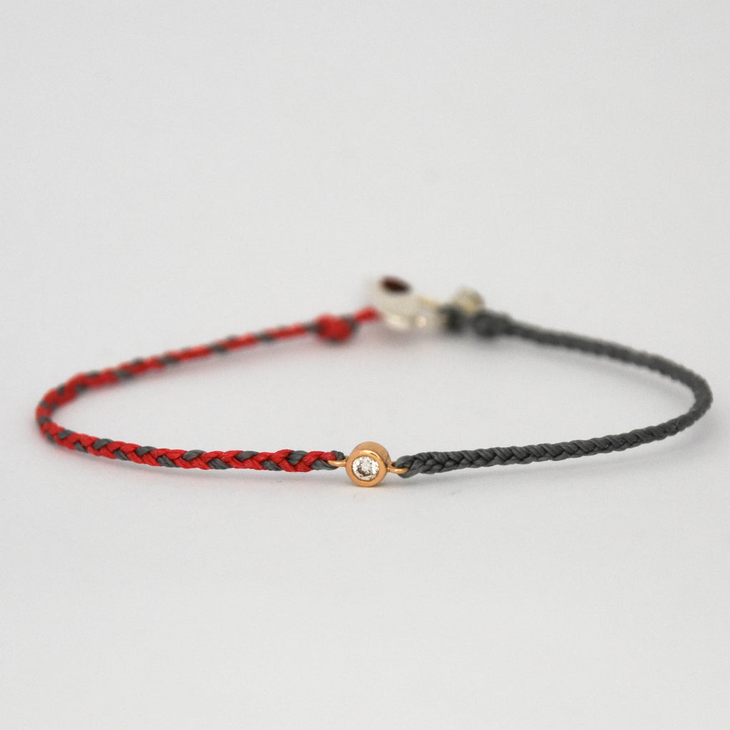 Braided Diamond Friendship Bracelet Coral with Grey