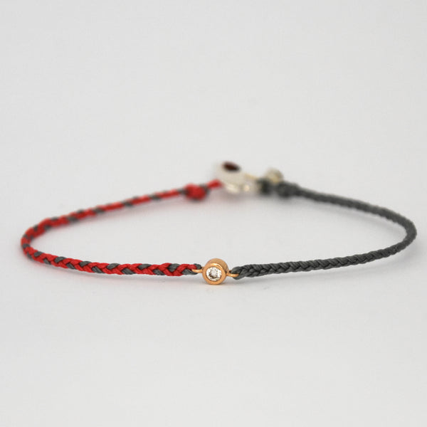 Braided Diamond Friendship Bracelet Coral with Grey - Vivien Frank Designs