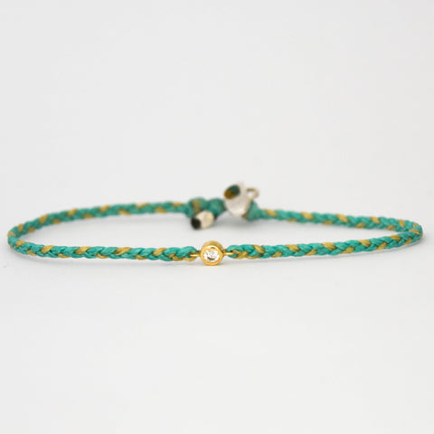Braided Diamond Friendship Bracelet Green