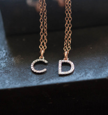 14k solid gold Diamond Initial Necklace A-Z