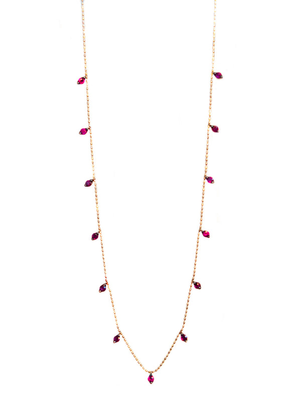 Ruby Droplet necklace in 18k rose gold - Vivien Frank Designs