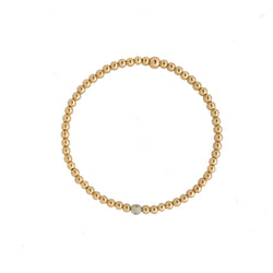 14k Yellow Gold beaded Bracelet with diamond accent - Vivien Frank Designs