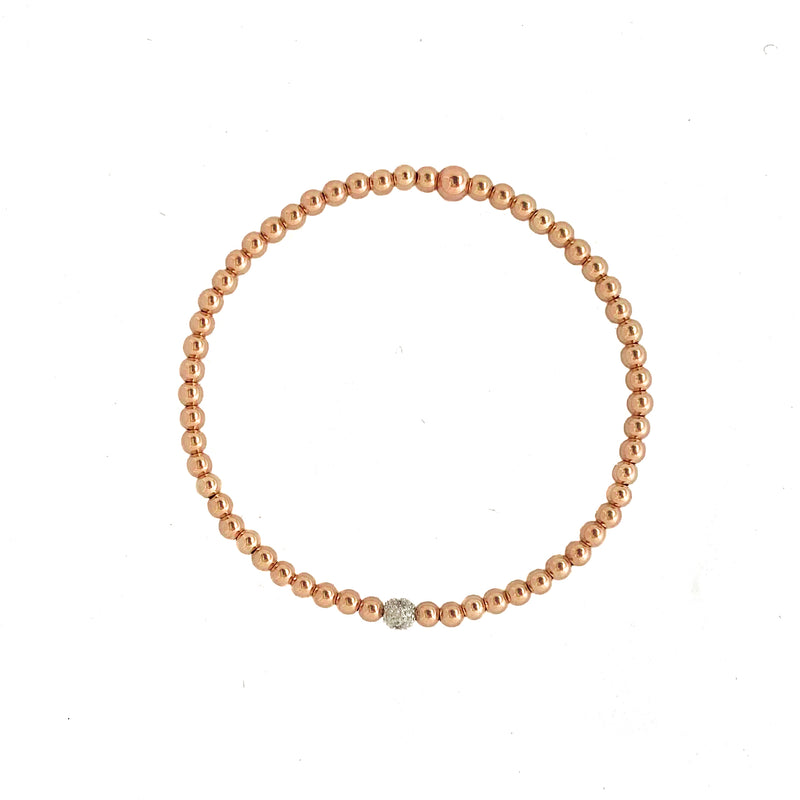 14k Rose Gold beaded Bracelet with diamond accent - Vivien Frank Designs