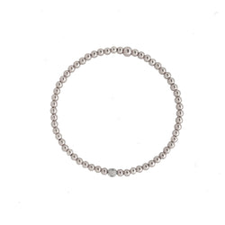14k White Gold beaded Bracelet with diamond accent - Vivien Frank Designs