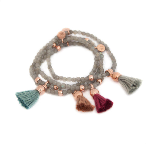 Rose Gold Tassel Bracelet with Labradorite by Vivien Frank Designs