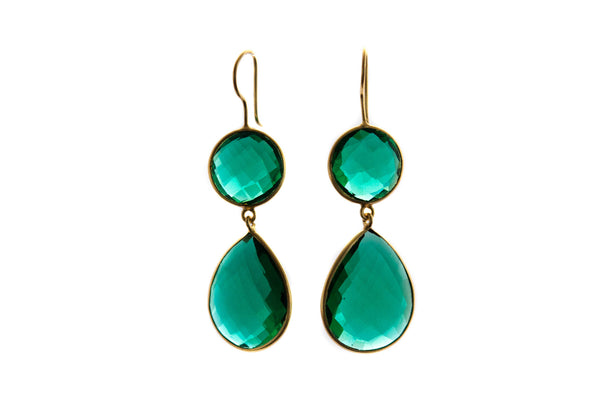 Double Green Fluorite Quartz Teardrop earrings - Vivien Frank Designs