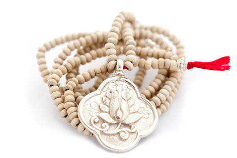 Long Tulsi wood Lotus flower necklace