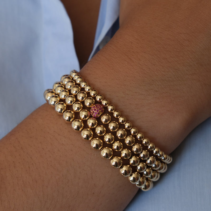 Ruby Ball Bracelet in 14k