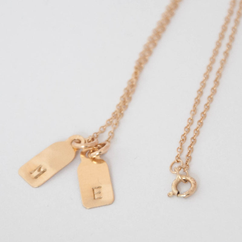 Dainty Initial Necklace Tags in solid gold - Vivien Frank Designs