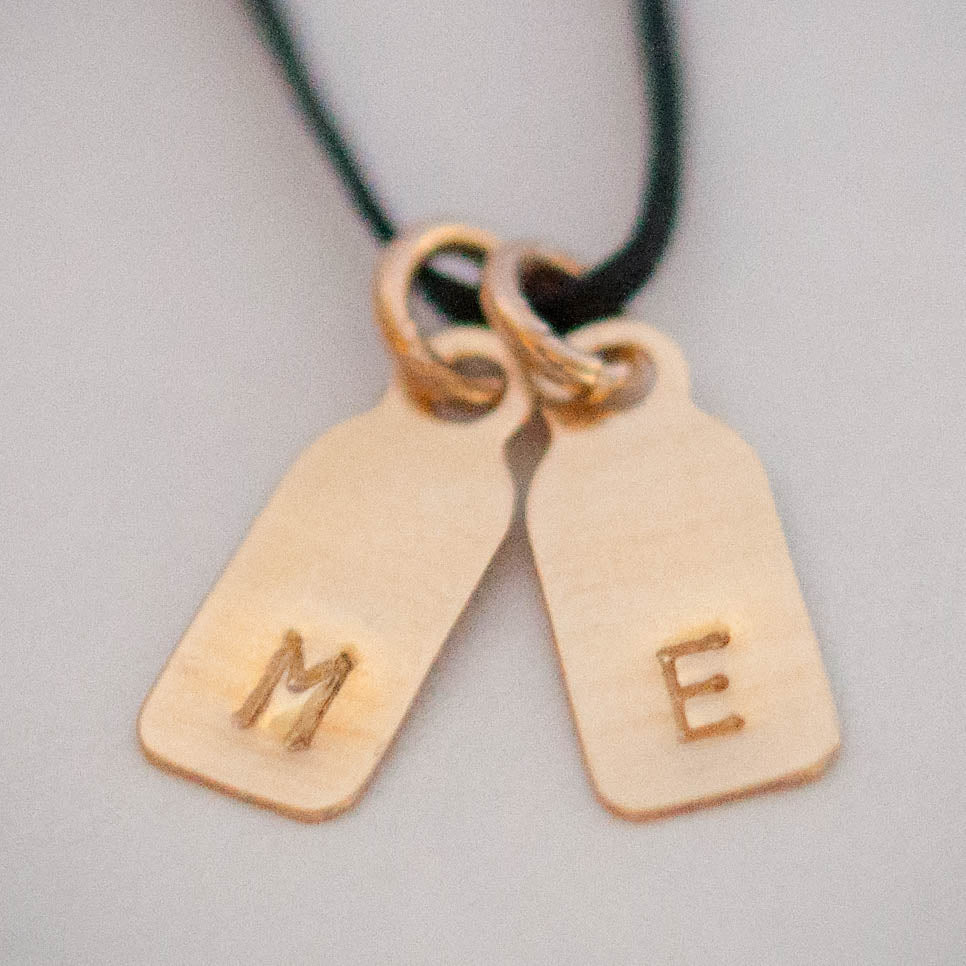 Dainty Tag Necklace in 14k solid gold