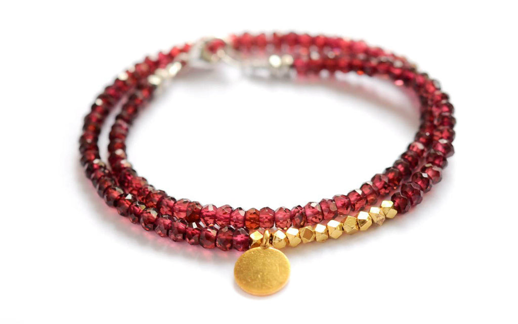 Garnet and Gold vermeil Garnet Double wrap bracelet by Vivien Frank
