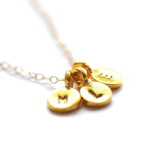 Tiny initial necklace - Three charms